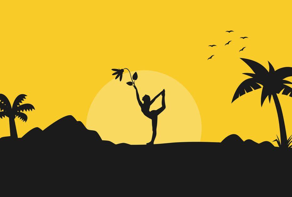 yoga, sunrise, silhouette
